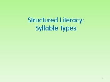 Multisensory Strategies for Specific Learning Differences-Syllable Types