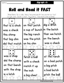Multisensory Word Work Practice Pack for digraph ch
