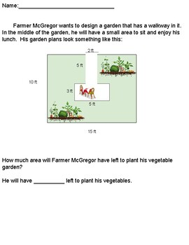 Multistep Area Word Problem Solving - Planting a Garden