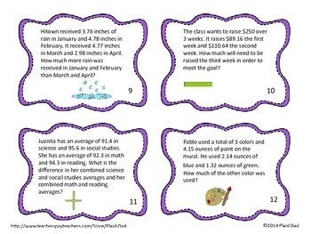 Multistep Decimal Addition and Subtraction Task Cards