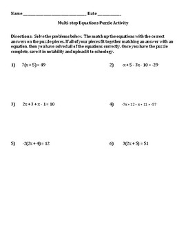Multistep Equation Puzzle activity