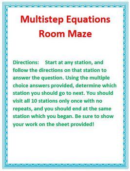 Multistep Equation Room Maze