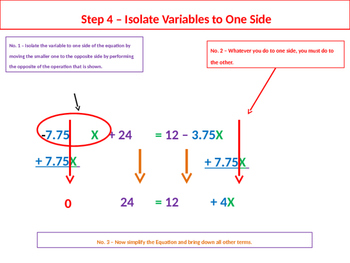 Multistep Equation with Variables on Both Sides Solution Summary