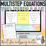 Multistep Equations - - Two Truths & a Lie - - DIGITAL