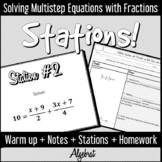 Multistep Equations with Fractions: Warm Up, Guided Notes,