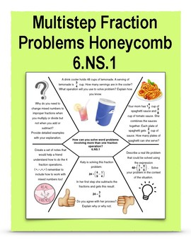 Multistep Fraction Problems Honeycomb 6.NS.1