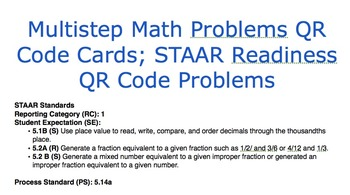 Multistep Math Problems QR Cards; STAAR Readiness QR Code Problems_5.1B_5.2A_5