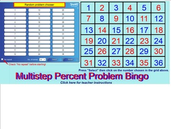 Multistep Percent Problems Bingo for the SMARTboard 7.RP.A3