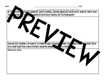 Multistep Word Problem Assessment/ Exit Ticket