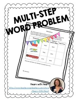 Multistep Word Problem - Dinnertime