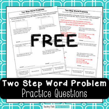 Multi Step Word Problems / Two Step Word Problems Freebie