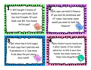 Multistep Word Problem Task Cards - Add., Subtract, Multiplication, and Division
