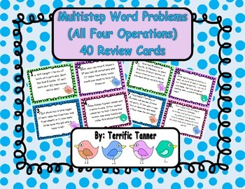 Multistep Word Problem Task Cards - Add., Subtract, Multip