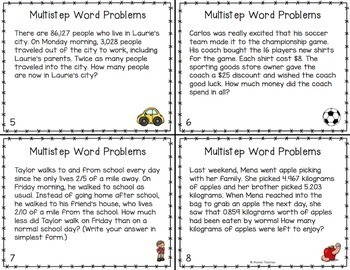 Multistep Word Problem Task Cards (Whole Numbers, Fractions, and Decimals)