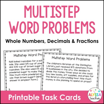 Multistep Word Problem Task Cards (Whole Numbers, Fraction