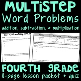 Multistep Word Problems (Addition, Subtraction, & Multiplication), Lesson Packet
