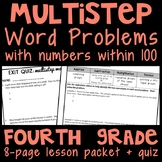 Multistep Word Problems (Numbers within 100) Lesson Packet & Exit Quiz