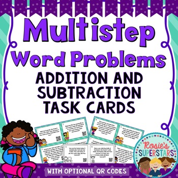 Multistep Addition and Subtraction Word Problem Task Cards