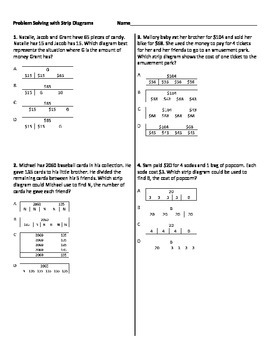 multistep word problems with strip diagrams worksheet by ... nervous system diagram for 4th grade strip diagram 4th grade multi step math