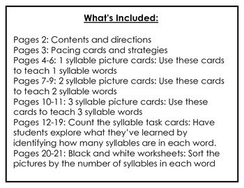Multisyllabic Zoo: 1, 2 and 3 syllable words