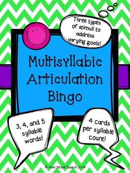 Multisyllabic Articulation Bingo