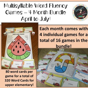 Multisyllabic Center Games for Word Fluency - April to July Bundle