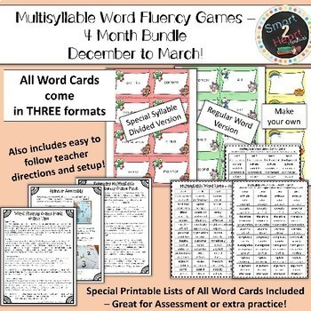 Multisyllabic Center Games for Word Fluency - December to March Bundle