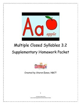 Multisyllabic Closed Syllable 3.2 Supplemental Homework Packet