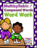 Multisyllabic/Compound Words Word Work