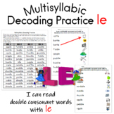 Multisyllabic Decoding Practice -le