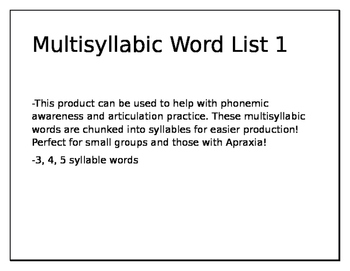 Multisyllabic Word Activity for 3 syllable words
