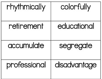 Multisyllabic Word Cards - 3, 4, and 5 Syllable Words for Word Work and More!