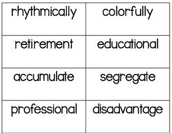 Multisyllabic Word Cards - 400+!! - UPDATED 8/21/18!