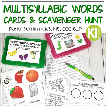 Multisyllabic Word/Vocabulary Cards, Data Tracking Sheet, & Scavenger Hunt