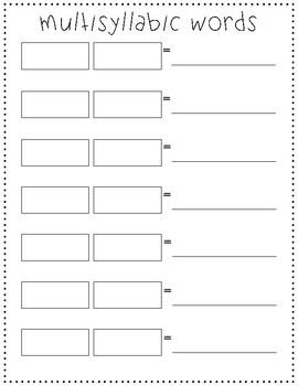 Multisyllabic Word Practice Template