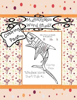 Multisyllabic Words Sharks #5 Coloring Page