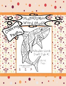 Multisyllabic Words Sharks #6 Coloring Page