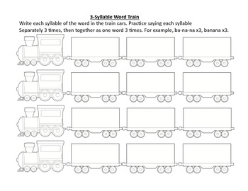 Multisyllabic Word Train: Speech Therapy Articulation