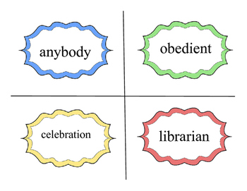 Multisyllabic Words- 4 Syllable Flash Cards