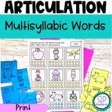 Multisyllabic Words Articulation Speech Therapy Worksheets