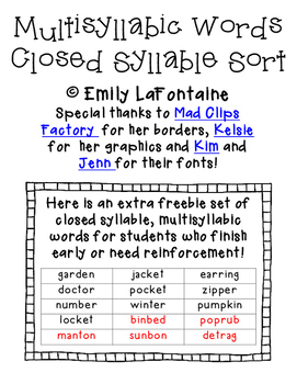 Multisyllabic Words Closed Syllable Sort - PHONICS with freebie!