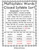 Multisyllabic Words Closed Syllable Sort - PHONICS with freebie!
