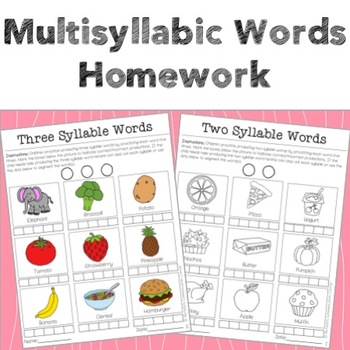 Multisyllabic Words Homework
