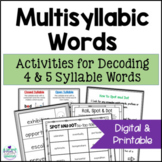 Multisyllabic Words Intervention Activities- Spot and Dot