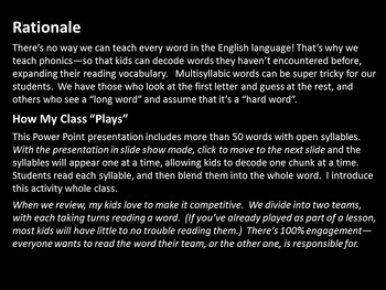 Multisyllabic Words Made Easy--A Syllable Approach for Words With Open Syllables