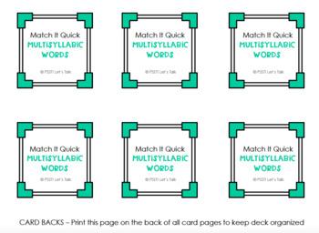 Multisyllabic Words Match It Quick - Square Edition
