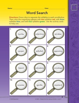 Multisyllabic Words--Word Search Literacy Center (eLesson)