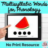 Multisyllabic Words for Phonological Practice NO PRINT GIANT Flashcards