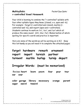 Multisyllabic r-controlled Vowels 8.2 Supplemental Homework Packet
