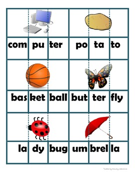 Multisyllable Word Building Cards